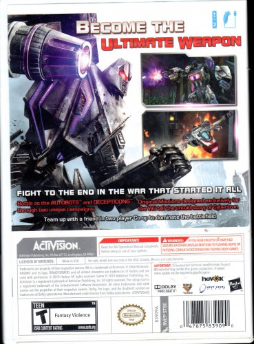 Transformer Cybertron Adventure WII Game
