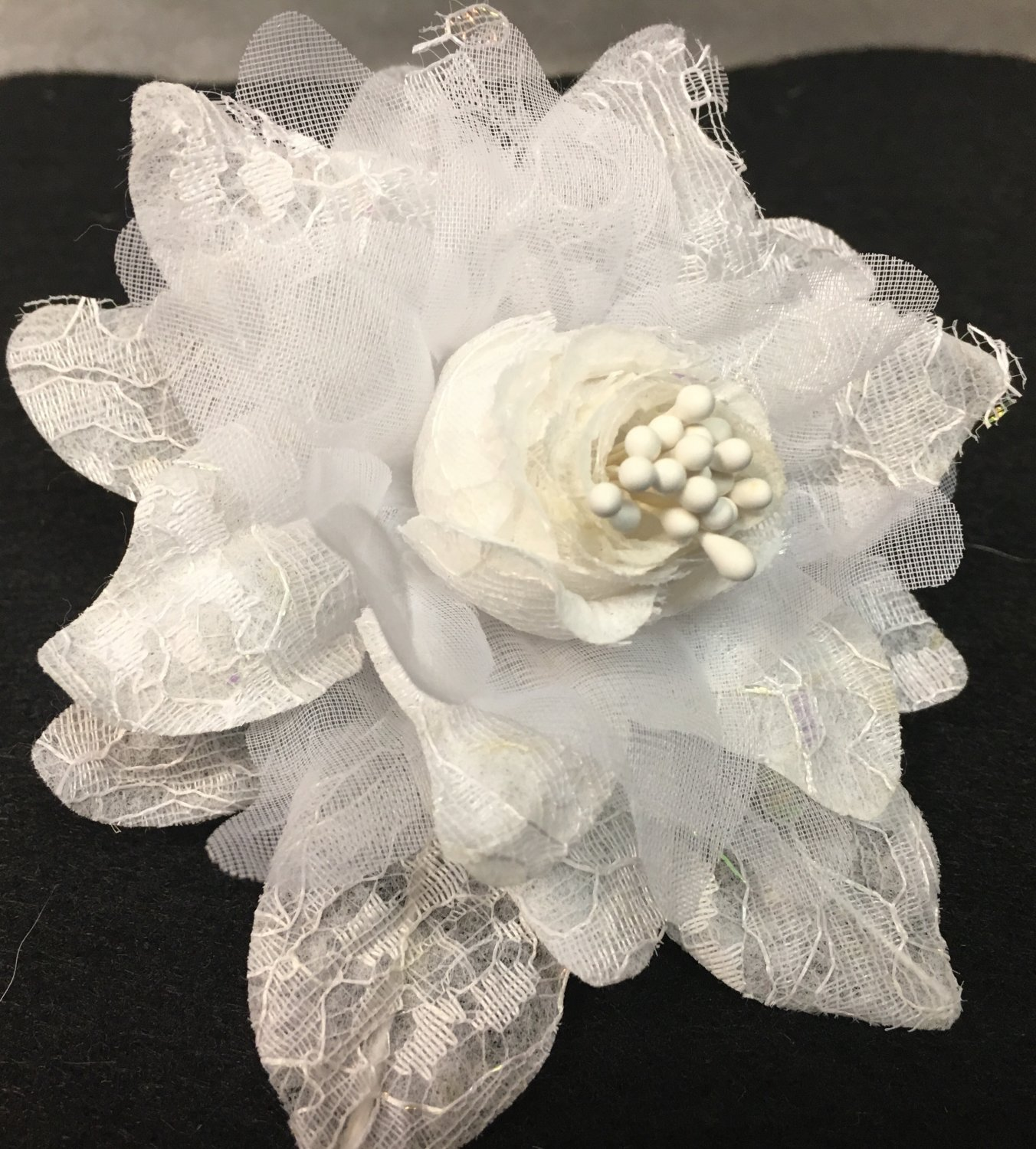 Beautiful White Silk Flowers with Pearls and Lace Accents - 1 Dozen Flowers - 12 Flowers