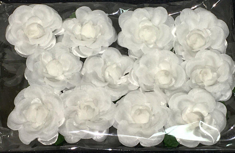 Beautiful White Silk Flowers 1 Dozen White Rosebuds with Green Stems - 12 Flowers
