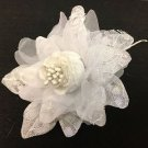 White Silk Flowers Beautifully Accented with Lace & Pearls - 1 Dozen 12 Flowers