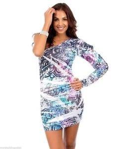 Christina Love One Shoulder Rhinestone Embellished Printed Short Dress