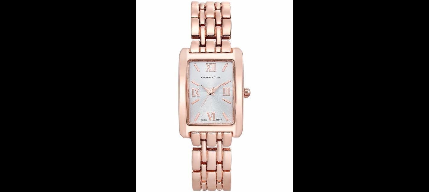 Charter Club Square Face Rose Gold Tone Watch 22mm