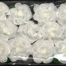 White Silk Flowers White Rosebuds with Green Stems & Leaves - 1 Dozen 12 Flowers