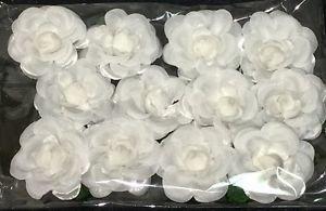 White Silk Flowers White Rosebuds with Green Stems & Leaves - 1 Dozen 12 Flowers