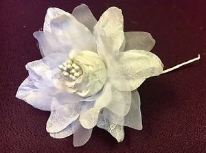 Ivory Silk Flowers Beautifully Accented with Lace & Pearls - 1 Dozen 12 Flowers