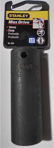 "18mm Stanley Max-Drive 1/2"" Drive 6-Point Deep Impact Socket - Metric"