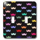 Decorative Light Switch Plate Double Toggle Metal Colorful Mustache Pattern