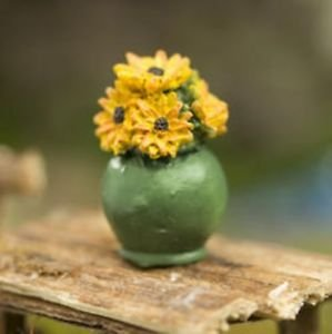 """Miniature Potted Sunflowers Resin Figure 1"""" Great for Arts and Crafts, Dollhouse"""