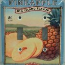 Decorative Light Switch Plate Double Toggle Metal Vintage Pineapple Ad Design
