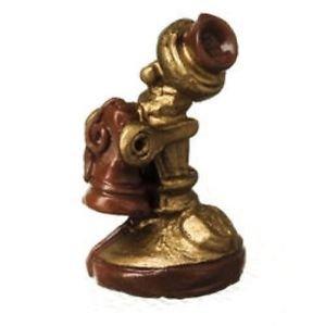 "Miniature Nostalgic Telephone Resin Figure 1-1/4"" Great for Arts Crafts Dollhous"