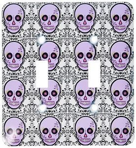 Decorative Light Switch Plate Double Toggle Metal Purple Skull Pattern Design