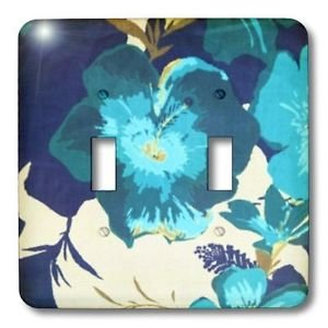 Decorative Light Switch Plate Double Toggle Metal Blue & White Hibiscus Flowers