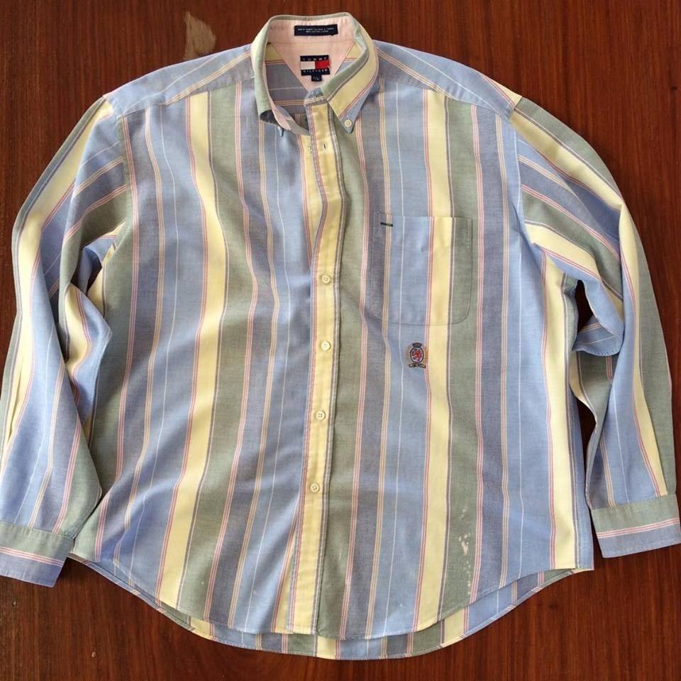 Authentic Tommy Hilfiger Striped Men's Large Dress Shirt Cotton