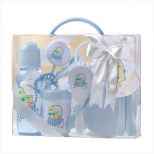 baby gift basket set in clear