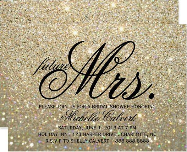 Invitation | Gold Glit Fab future Mrs. Bridal Shower  (Qty 10)
