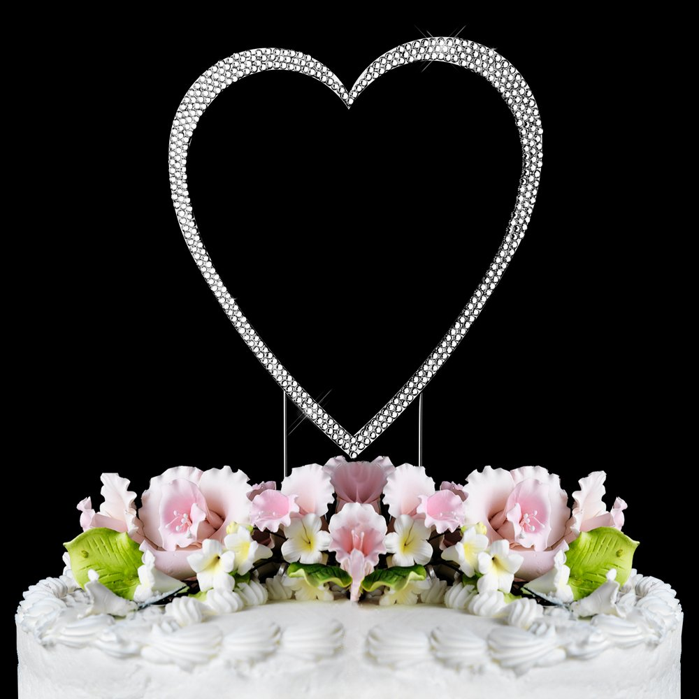 Large - Swarovski Crystal Heart Wedding Cake Topper