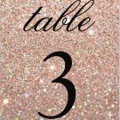 Table Number Cards - Rose Gold Glit Fab (Qty 5)