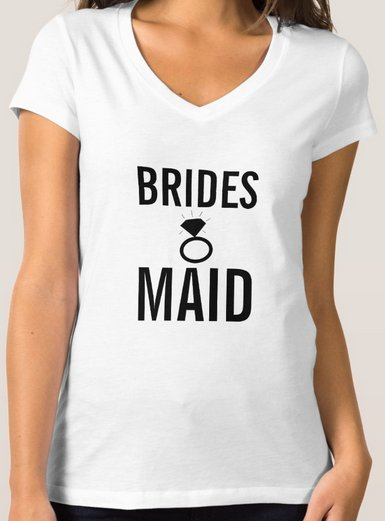 T-Shirt - Bridesmaid's Ring Bling - White