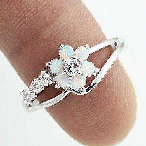 Luxury White Flower Opal Silver Ring Size 5 6 7 8 8.5 9