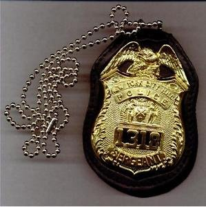 NYPD-Style Sergeant Badge Cut-Out Neck Hanger with Chain - (Badge Not Included)