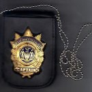 NYPD-Captain-Style Cut-Out Shield & ID Neck Holder w/chain Badge Not Included