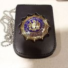 NYPD-Lieutenant-Style Cut-Out Shield & ID Neck Holder w/chain Badge Not Included