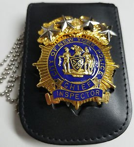 NYPD-Style Chief Inspector Shield/ID Card Neck Holder Badge/ID Card Not Included