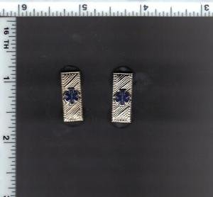 Emergency Medical Service - Lieutenant Collar Brass Set of 2 - Silver Plated