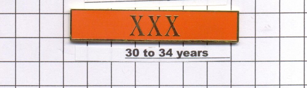 Sheriff's Department 30-34 Year Longevity Bar (XXX) Citation Bar pin back Orange