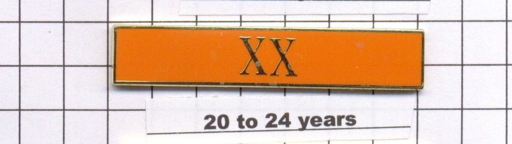 Sheriff's Dept 20-24 Year Longevity Bar (XX) Citation Bar - pin back - Orange