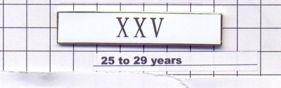 Sheriff's Department 25-29 Year Longevity Bar (XXV) Citation Bar pin back  White