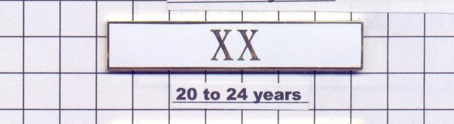 Sheriff's Department 20-24 Year Longevity Bar (XX) Citation Bar pin back - White