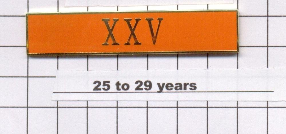 Correction's Dept 25-29 Year Longevity Bar (XXV) Citation Bar - pin back  Orange