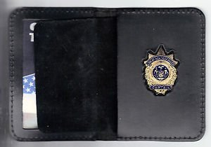 NYPD-Style-Captain Plain Mini Badge Wallet (mini Badge Included) slightly warped