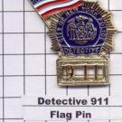 Detective 911/American Flag -  World Trade Center Memorial Pin