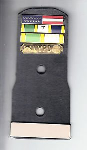 Movie/TV Prop Leather Police Badge Backer w/4 Citation Bars & Blank Name Plate