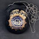 NY/NJ PD-Style Commissioner Badge Cut-Out Neck Hanger/Belt Clip Combo (No Badge)