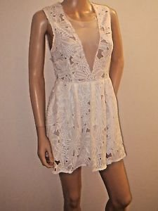 White Lace Shorts Dress w/Sheer Front SzS