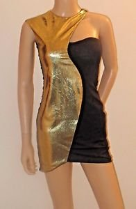 Unique Black & Gold Short Cocktail Party Clubwear Dress w/Asymetrical Collar SzS