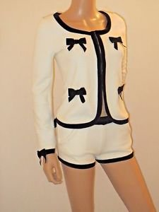 2 Piece Ivory & Black Jacket & Shorts Suit Outfit SzS