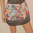 Multi Color Floral Short Pleated High Waist Bell Style Skirt SzS