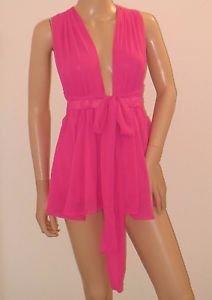 Pink Chiffon Outfit Jumpsuit One Piece Deep Vneck Shorts Romper SzM