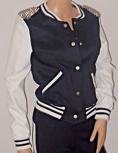 Varsity Bomber Style Jacket w/Silver Shoulder Spike Detail SzS