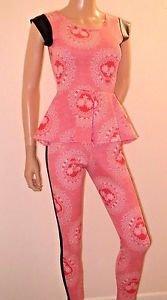 Clubwear 2 Piece Outfit Peplum Top & Skinny Pants w/Faux Leather Black Trim SzS