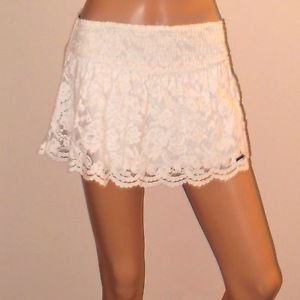 White Lace Abercrombie & Fitch Short Party Club Skirt SzS