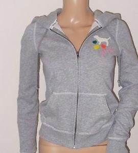 Victoria's Secret All You Need Is Pink Love Pink Gray Zip Hoodie Sweatshirt XS