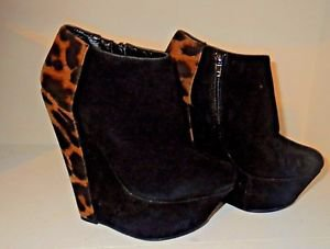 Black Faux Suede & Leopard Print Ankle Booties Block High Heels Liliana 6