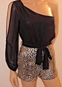 Leopard Print Sequin One Shoulder Romper Jumpsuit One Piece Shorts Clubwear SzS