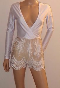 White LS Lace Romper Shorts Jumpsuit White Party Clubwear SzS