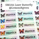 SM1316 Laser Butterfly Waterproof Name Stickers